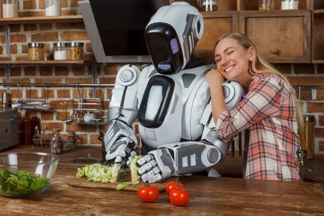 ロボットが料理をしている